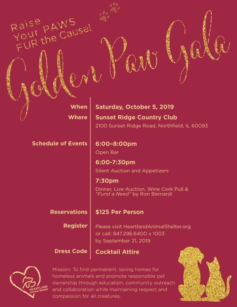 Join Us For Our Annual Golden Paw Gala   Heartland Animal